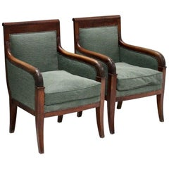 Pair of Early 19th Century French Empire Armchairs in Walnut