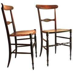 Pair of Early Chiavari Chairs by Giuseppe Gaetano Descalzi