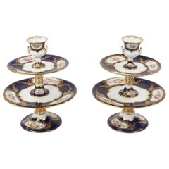 Pair of Early Coalport Porcelain Pedestal Sweetmeat Cake Stands, circa 1815