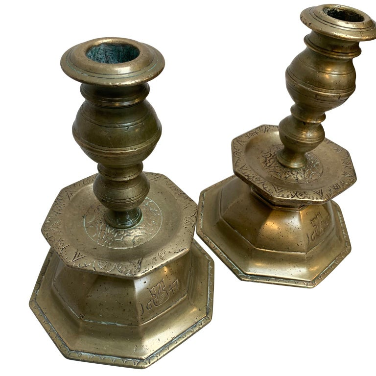 17th Century Pair of Early Danish Baroque Brass Candlesticks, Dated 1647 For Sale