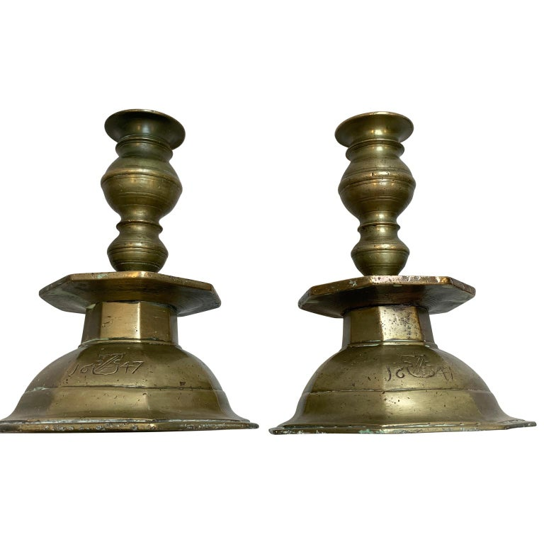 Pair of Early Danish Baroque Brass Candlesticks, Dated 1647 For Sale 1