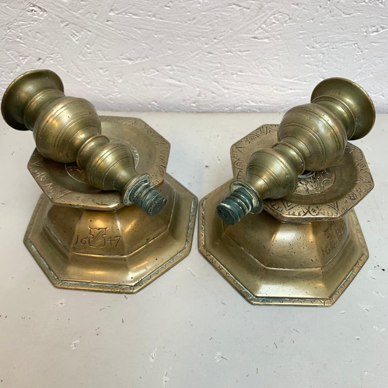 Pair of Early Danish Baroque Brass Candlesticks, Dated 1647 For Sale 3
