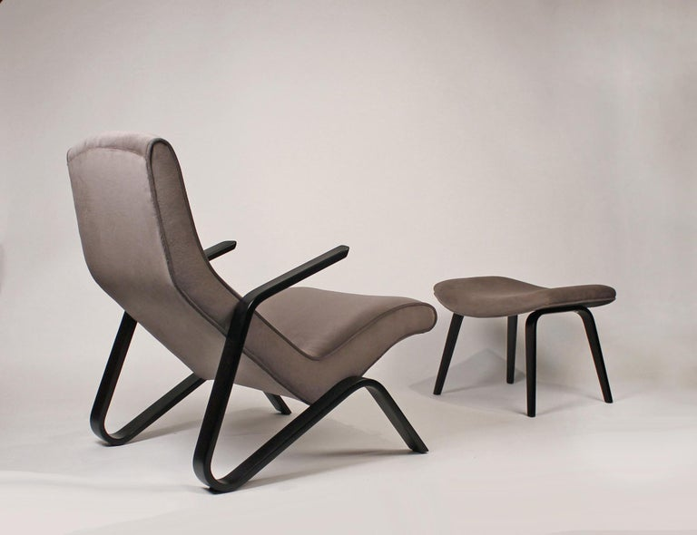 American Pair of Early Eero Saarinen Grasshopper Chairs for Knoll with Rare Black Frames For Sale