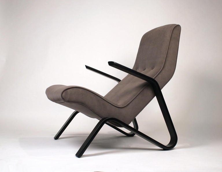 Painted Pair of Early Eero Saarinen Grasshopper Chairs for Knoll with Rare Black Frames For Sale