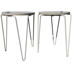 Pair of Early Florence Knoll #75 Stools Side Tables