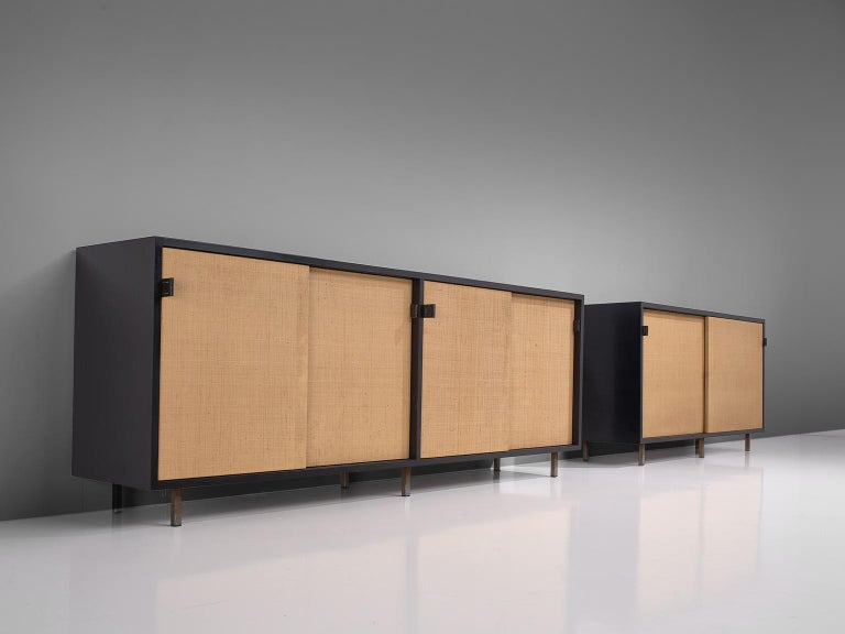 Mid-Century Modern Pair of Early Florence Knoll Credenza with Cane Sliding Doors For Sale