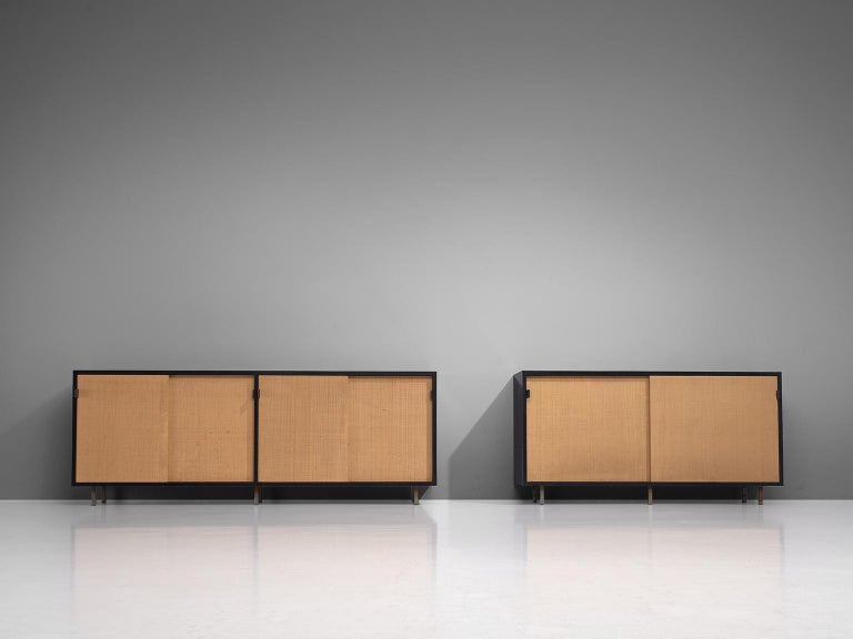 American Pair of Early Florence Knoll Credenza with Cane Sliding Doors For Sale