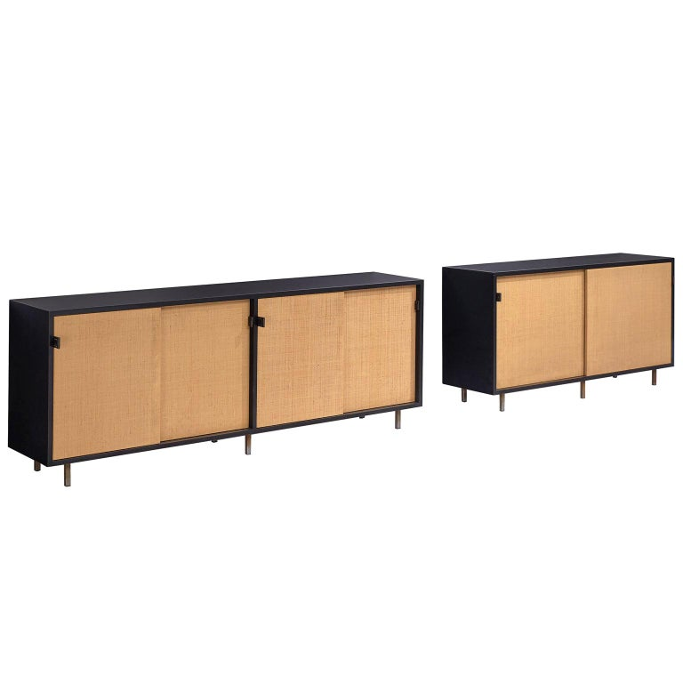 Pair of Early Florence Knoll Credenza with Cane Sliding Doors For Sale