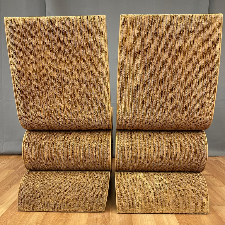Pair of Early Frank Gehry Easy Edges Wiggle Side Chairs, 1972 For Sale 3