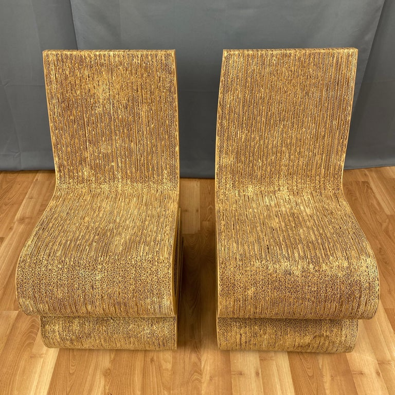Pair of Early Frank Gehry Easy Edges Wiggle Side Chairs, 1972 For Sale 5