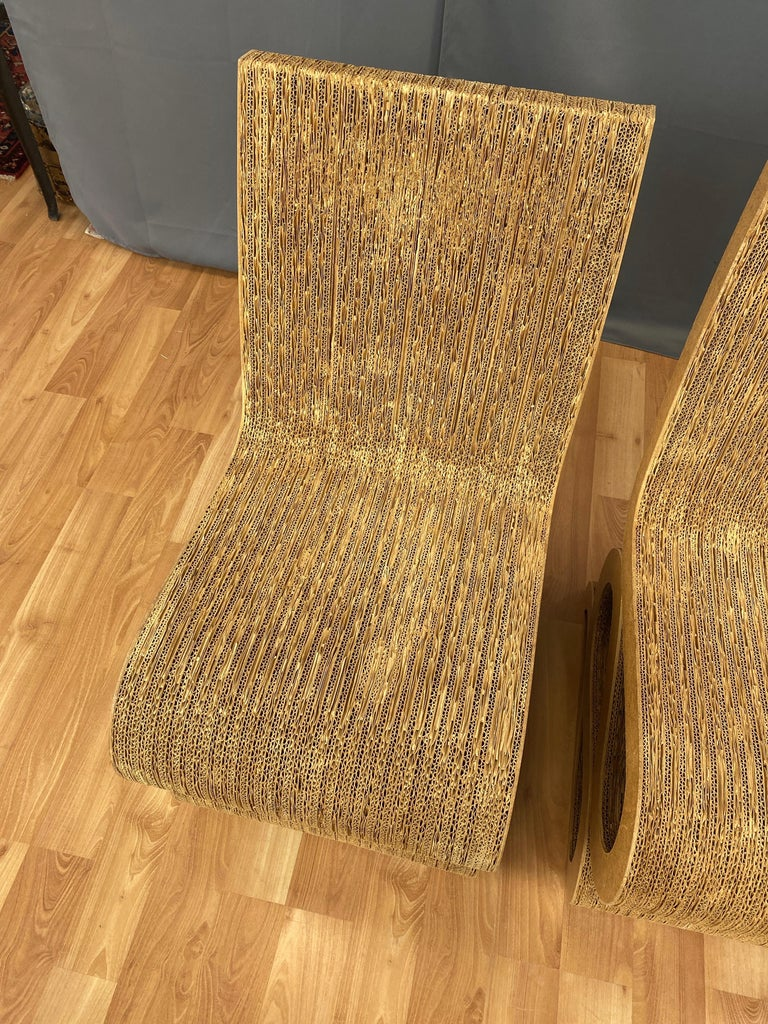 Pair of Early Frank Gehry Easy Edges Wiggle Side Chairs, 1972 For Sale 6