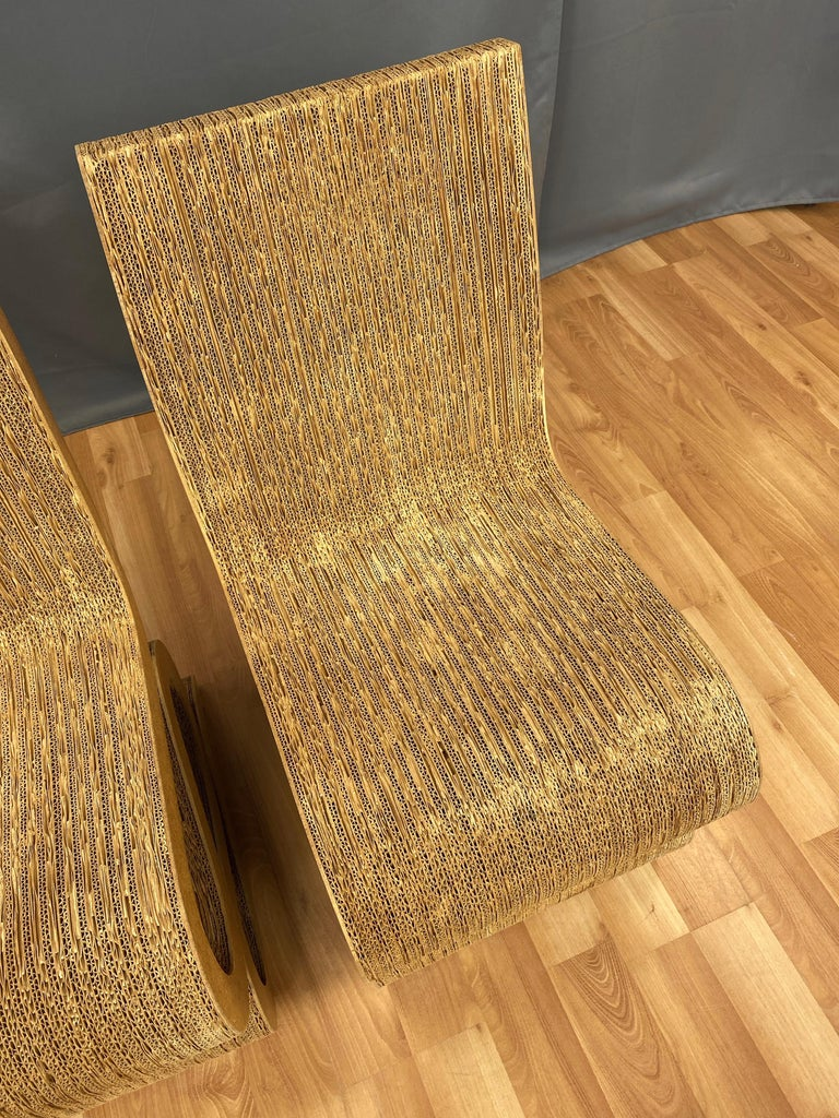 Pair of Early Frank Gehry Easy Edges Wiggle Side Chairs, 1972 For Sale 7
