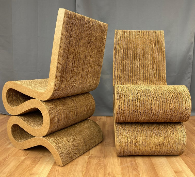 Wood Pair of Early Frank Gehry Easy Edges Wiggle Side Chairs, 1972 For Sale