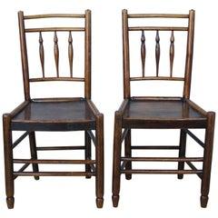 Pair of Early Georgian Oak Side Chairs