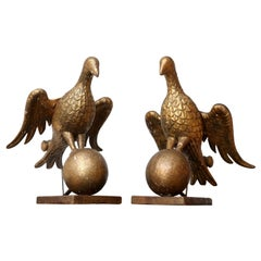 Pair of Early Giltwood Book Stands Carved as Doves