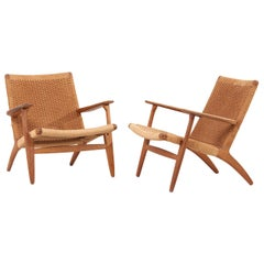 "Pair of Early Hans J. Wegner Easy Chairs ""CH 25"" for Carl Hansen"