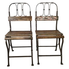 Pair of Early Iron and Wood Slated Bistro Chairs