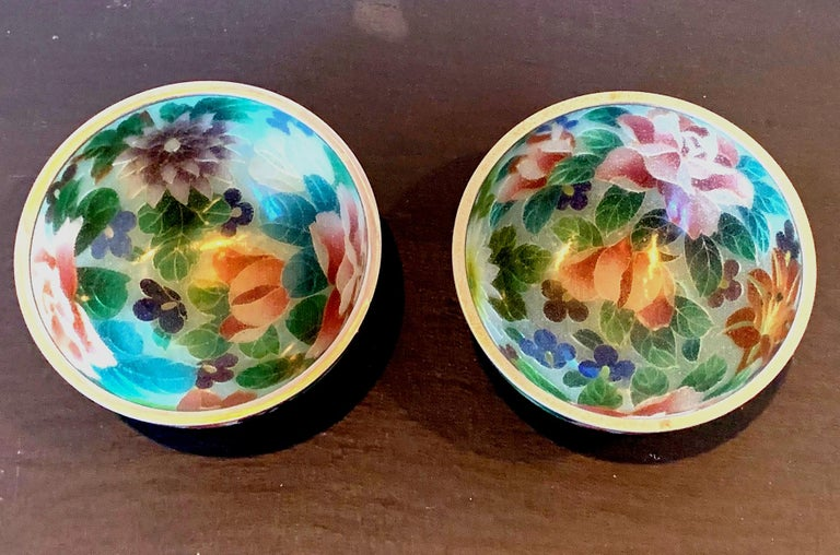 Pair of Early Japanese Plique-a-Jour Bowls from Nagoya For Sale 1
