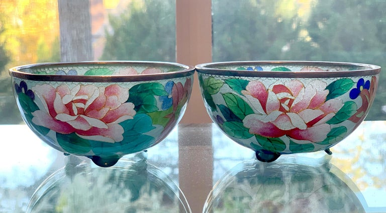 Pair of Early Japanese Plique-a-Jour Bowls from Nagoya For Sale 3