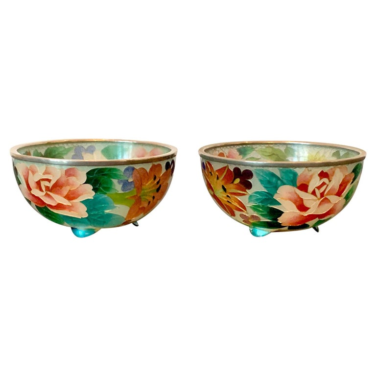 Pair of Early Japanese Plique-a-Jour Bowls from Nagoya For Sale
