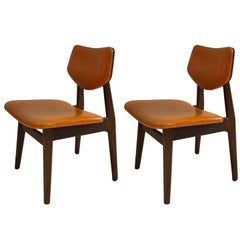 Pair of Early Jens Risom Chairs in Walnut, USA circa 1950