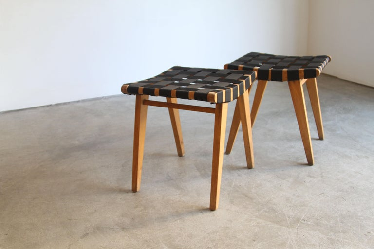 20th Century Pair of Early Jens Risom Stools For Sale