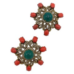 Pair of Early Kenneth Jay Lane K.J.L. Gold, Coral & Emerald Cabochon Pins