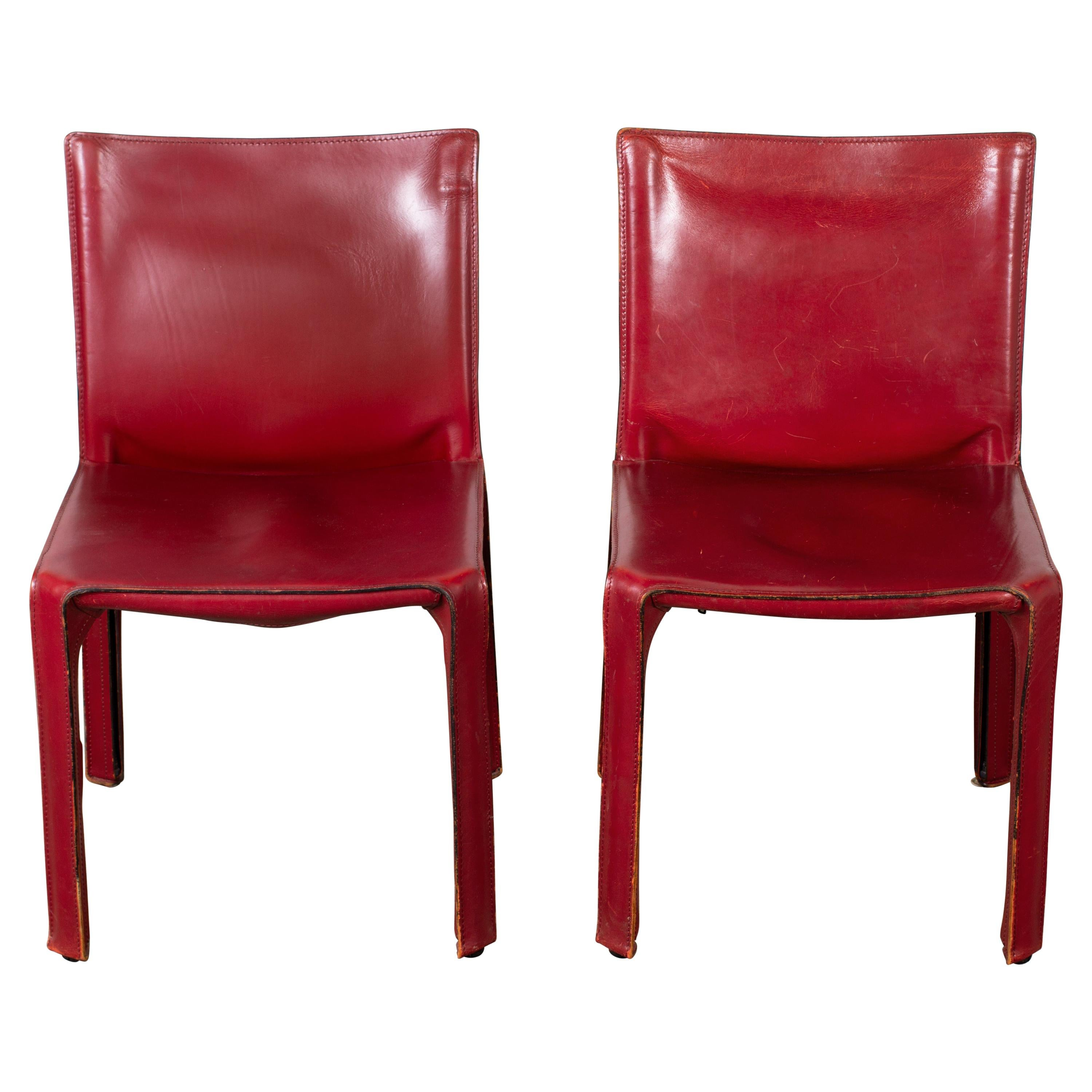 Pair of Early Mario Bellini CAB 412 Chairs in Cherry Red Leather for Cassina