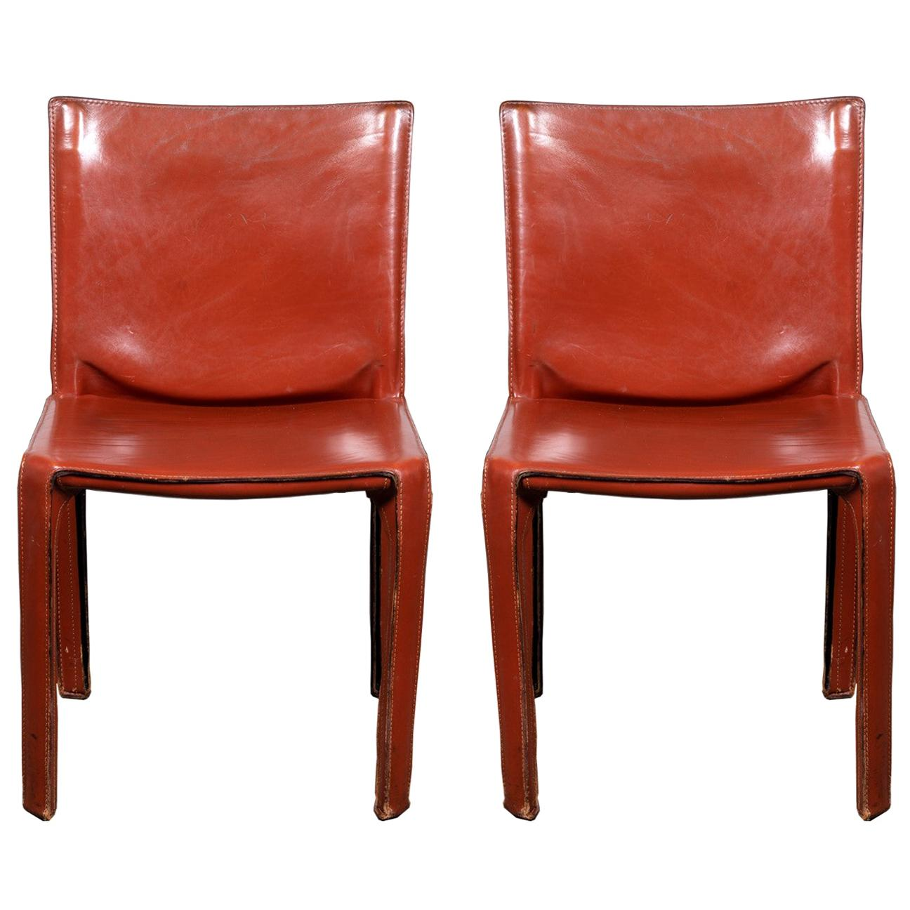 Pair of Early Mario Bellini CAB 412 Chairs in Russian Red Leather for Cassina
