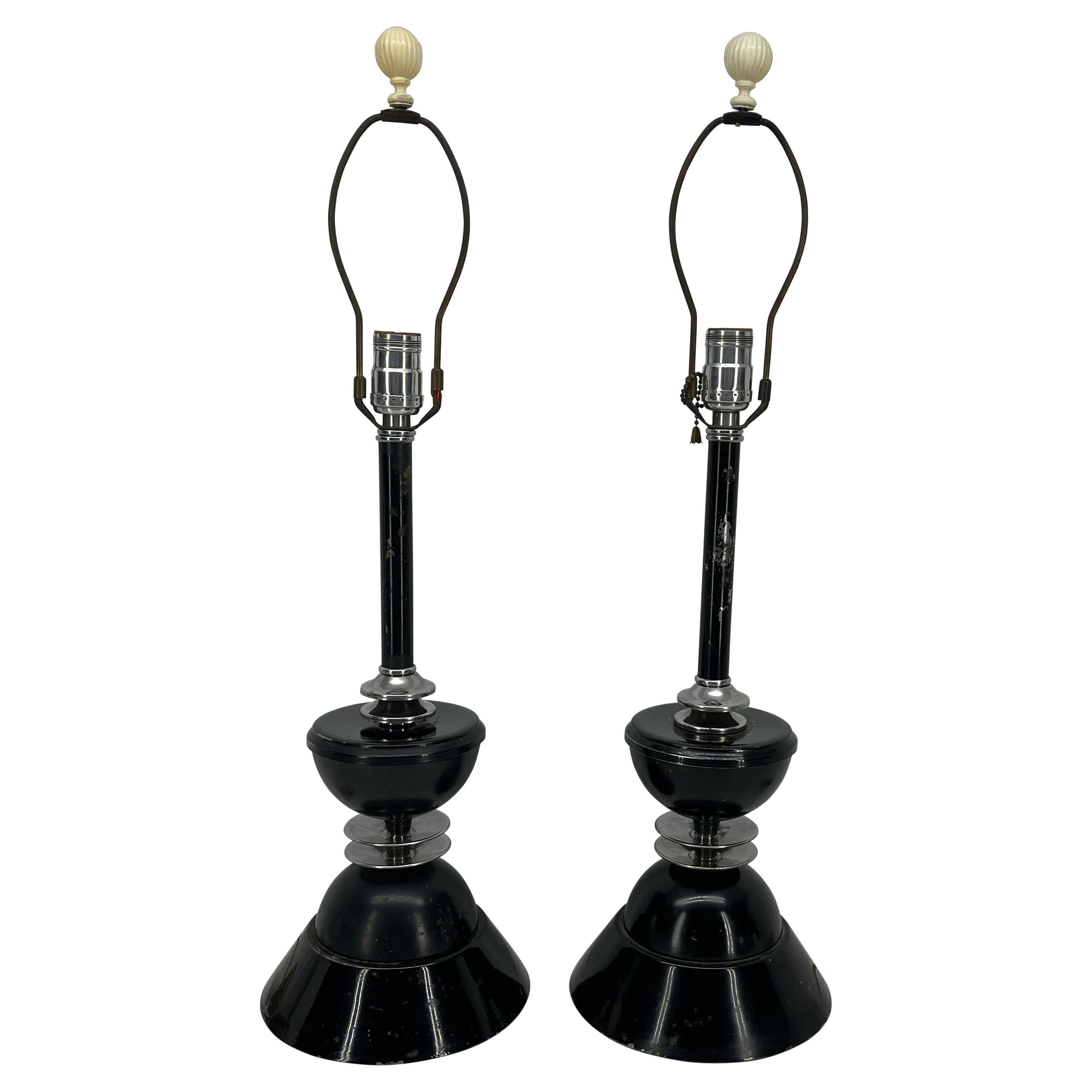Pair of Early Mid-Century Modern Black Toleware Chrome Lamps