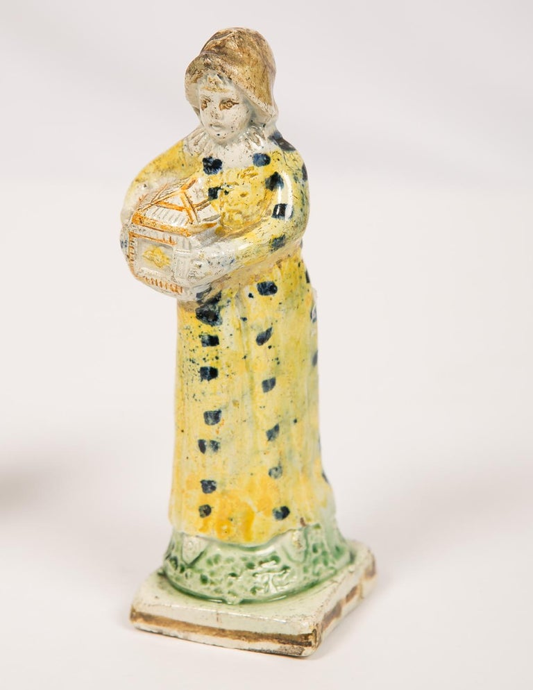 English Pair Antique Prattware Figures Deaccessioned From Colonial Williamsburg For Sale