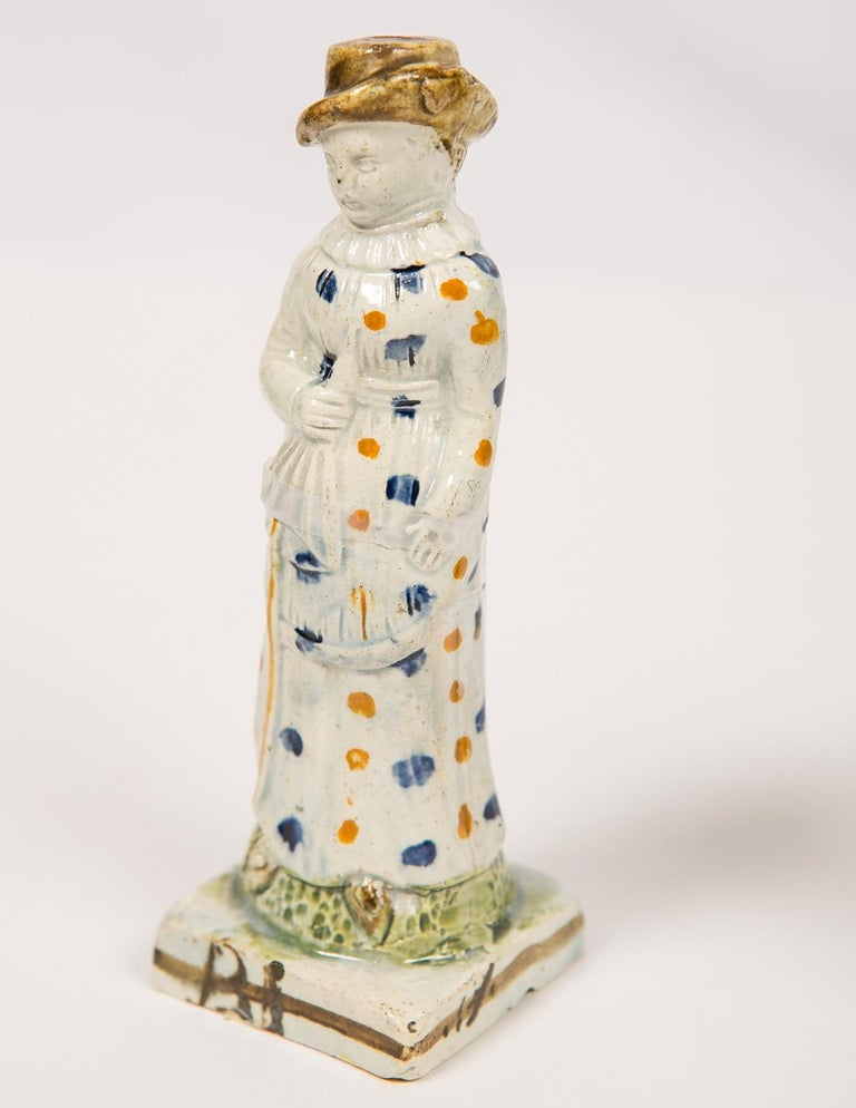 Glazed Pair Antique Prattware Figures Deaccessioned From Colonial Williamsburg For Sale