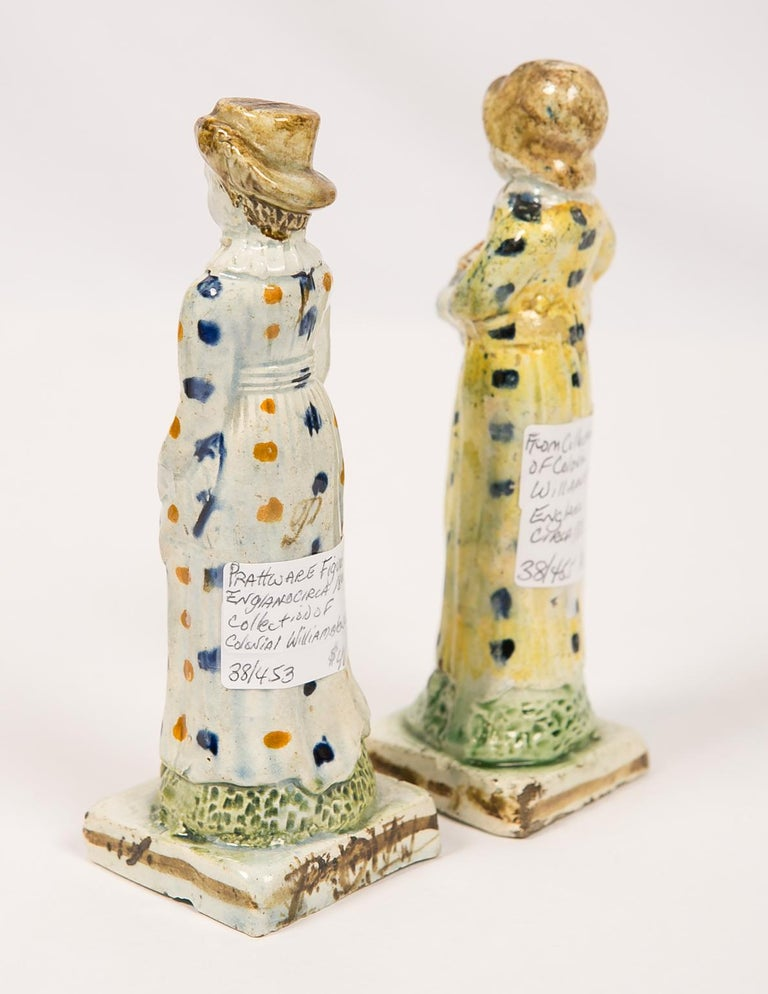 Pair Antique Prattware Figures Deaccessioned From Colonial Williamsburg In Excellent Condition For Sale In New York, NY