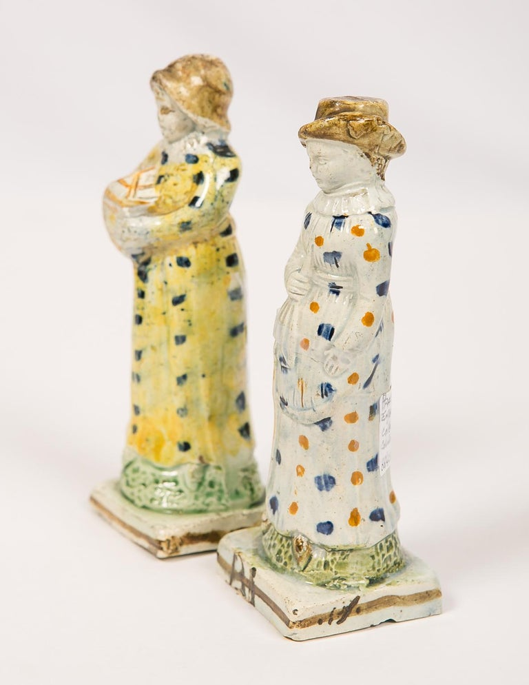 19th Century Pair Antique Prattware Figures Deaccessioned From Colonial Williamsburg For Sale