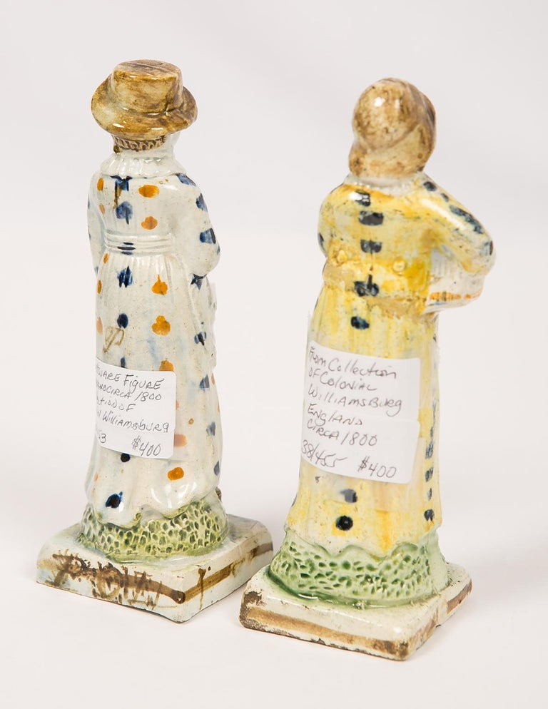 Creamware Pair Antique Prattware Figures Deaccessioned From Colonial Williamsburg For Sale