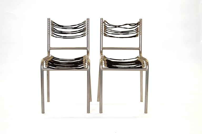 French Pair of Early René Herbst Sandows Chairs For Sale