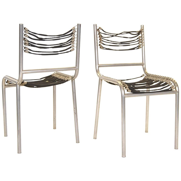 Pair of Early René Herbst Sandows Chairs For Sale