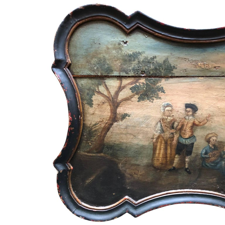 Pair of Early Swedish Rococo Folk Art Wooden Paintings or Table Tops For Sale 5
