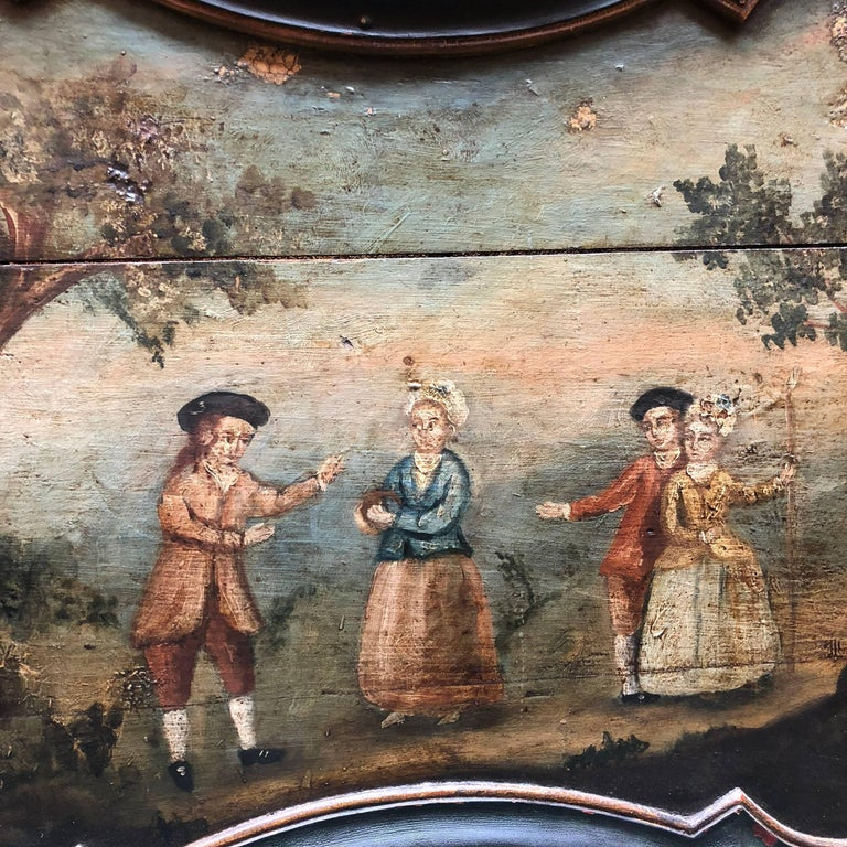 Pair of Early Swedish Rococo Folk Art Wooden Paintings or Table Tops For Sale 9