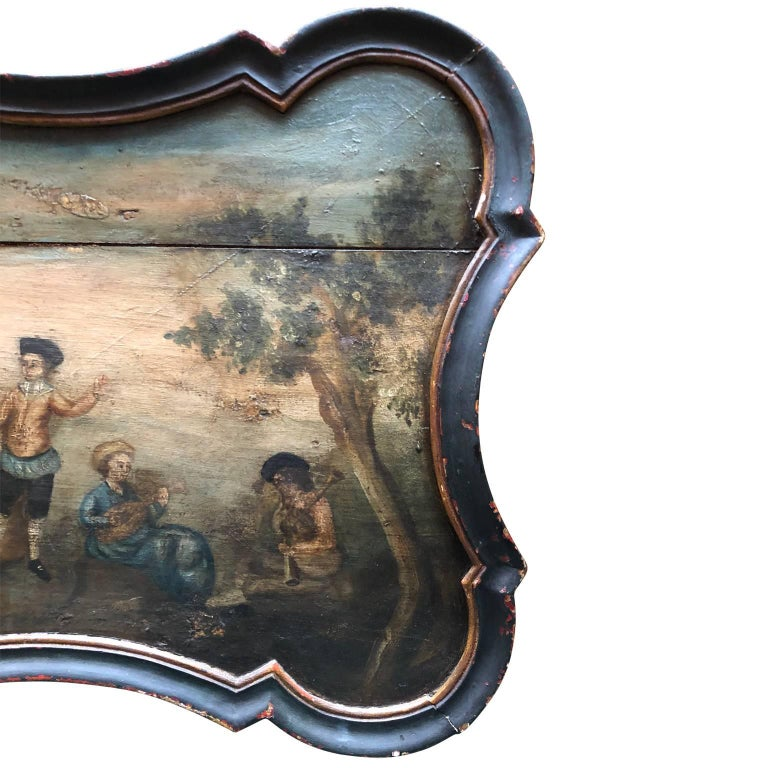 Pair of Early Swedish Rococo Folk Art Wooden Paintings or Table Tops For Sale 6