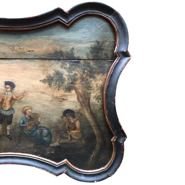 Pair Of Scandinavian Rococo Folk Art Wooden Paintings  For Sale 6