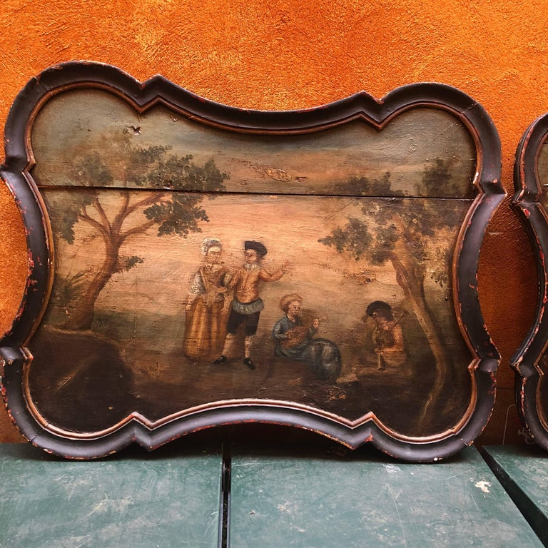 Pair of Early Swedish Rococo Folk Art Wooden Paintings or Table Tops For Sale 12