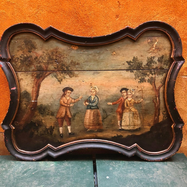 Pair of Early Swedish Rococo Folk Art Wooden Paintings or Table Tops For Sale 13