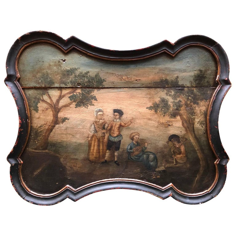 Pair of early Swedish Rococo Folk Art wooden paintings or table tops.