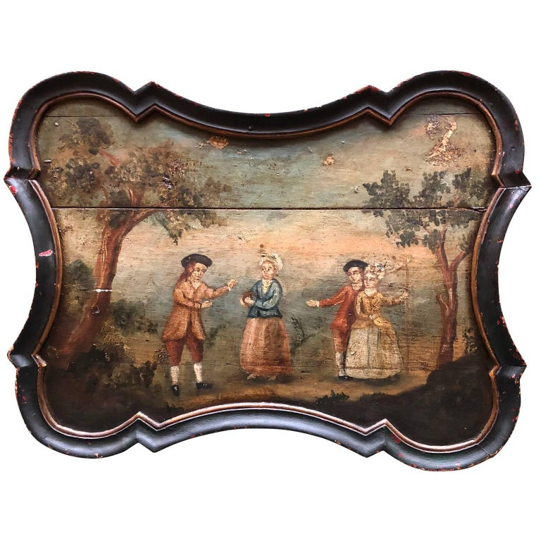 Hand-Painted Pair of Early Swedish Rococo Folk Art Wooden Paintings or Table Tops For Sale