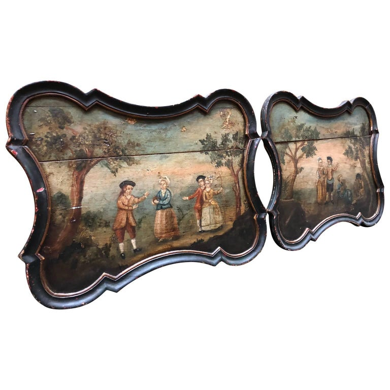 Pair of Early Swedish Rococo Folk Art Wooden Paintings or Table Tops In Good Condition For Sale In Haddonfield, NJ