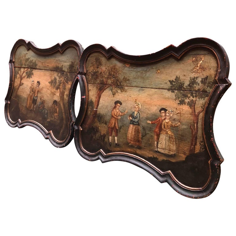18th Century Pair of Early Swedish Rococo Folk Art Wooden Paintings or Table Tops For Sale