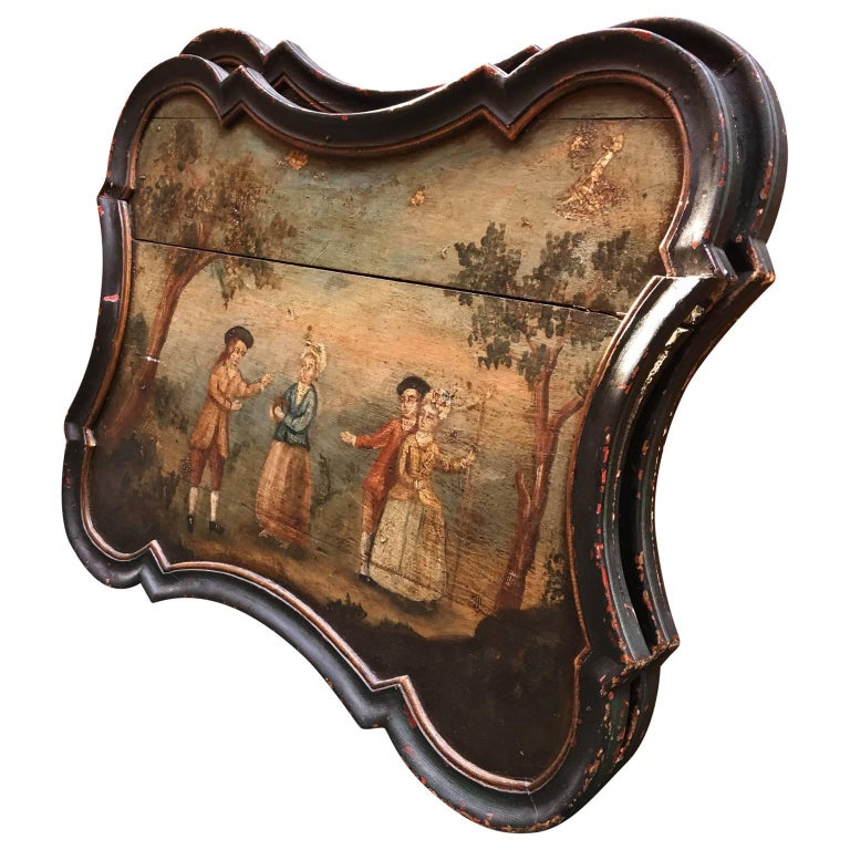 Pair of Early Swedish Rococo Folk Art Wooden Paintings or Table Tops For Sale 1