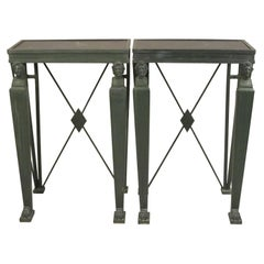 Pair of Early to Mid-20th Century Metal Neoclassical Side Tables