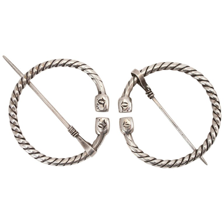 Pair of Early to Mid-20th Century Silver Tribal Fibulae, Berber People, Tunisia For Sale